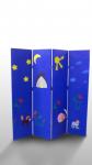 Ширма для детей 4 секции (полотно иск.кожа, каркас дерево) ширина секции 40см,высота 170см,толщина 2