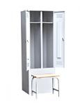 Шкаф для одежды 2-х створчатый с приставной скамьей (верх липа)500х600х1860