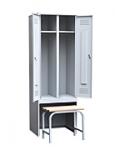 Шкаф для одежды 2-х створчатый с задвижной скамьей (верх липа) 500х600х1860