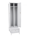 Шкаф для одежды двухстворчатый на подставке с ящиком 2200x600x770