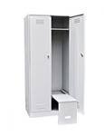 Шкаф для одежды двухстворчатый с откидной скамьей (верх металл)