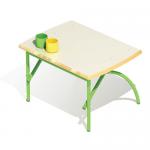 Стол регулируемый «Бамбуча» одноместный, столешница массив, с 1 по 3 м/к зеленый RAL 6018