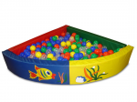 Сухой бассейн разборный угловой (r-130см, h-30см, b-10см), расчитан на 500 шариков